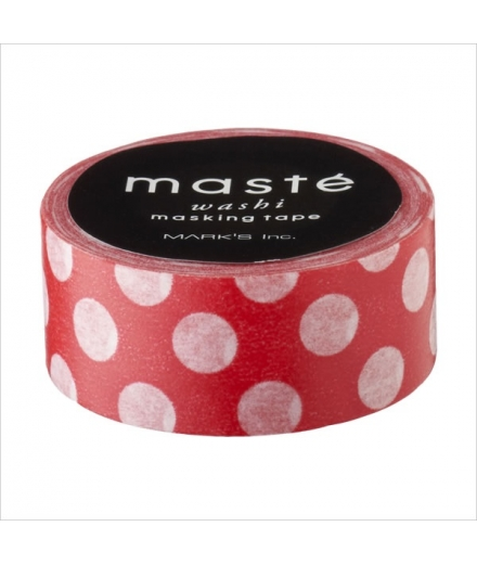 Masking Tape Polka Dots Red - masté