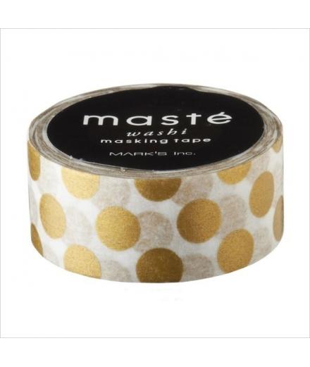 Masking Tape Polka Dots Gold - masté