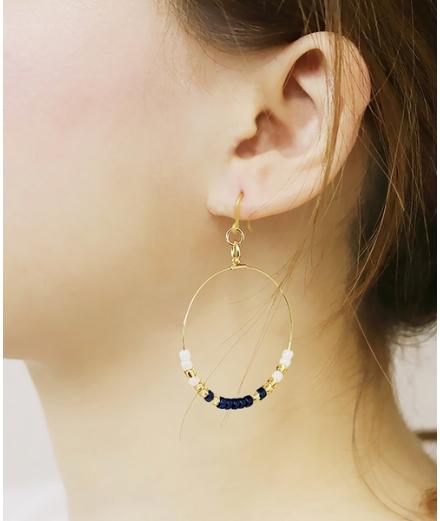 Boucle D'oreille Créole Perles En Verre - MATSUNO