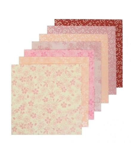 Set de 35 Papiers à Origami Fleurs de Cerisier 9.5x9.5cm - SHOGADO