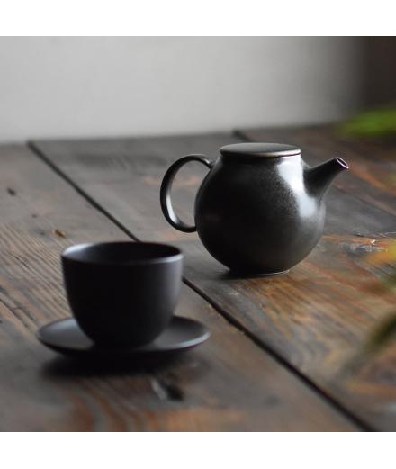 Tasse à thé Japonaise en Porcelaine Noire Pebble - KINTO