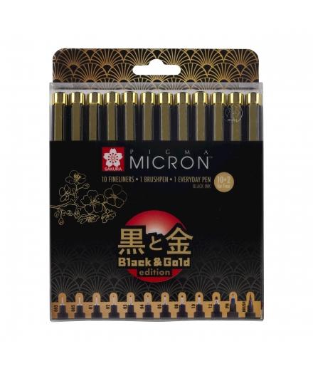 Set De 12 Pigma Micron Black & Gold Édition - SAKURA