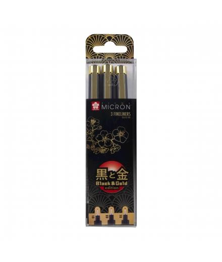 Set De 3 Fineliners Pigma Micron Black & Gold Édition - SAKURA