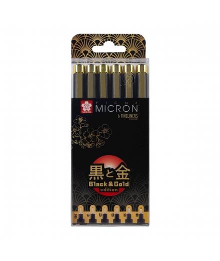 Set De 6 Fineliners Pigma Micron Black & Gold Édition - SAKURA