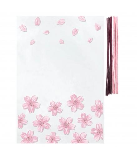 Pochettes Cadeaux Transparentes S Fleurs De Cerisiers x10 - INDIGO