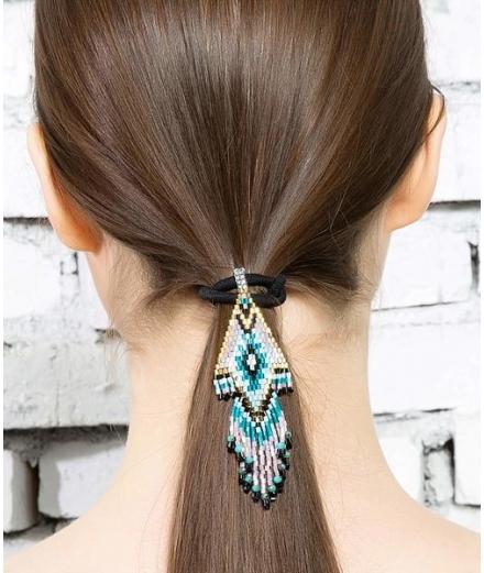Élastique À Cheveux En Perles De Verre L - MATSUNO