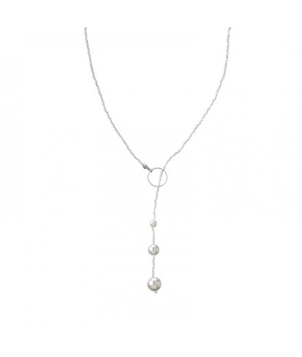 Collier En Perles De Verre Et Perles Synthétiques Noble - MATSUNO