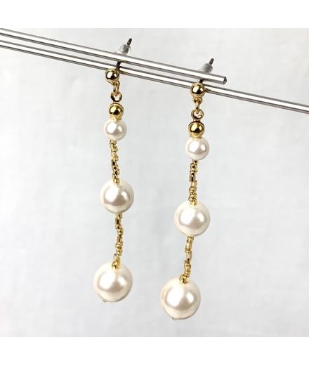 Boucles D'oreilles En Perles De Verre Et Perles Synthétiques Noble - MATSUNO
