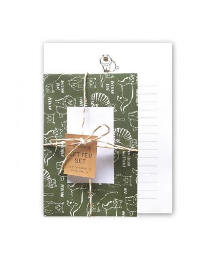 Set Papiers à Lettres & Enveloppes Chat - GREEN FLASH