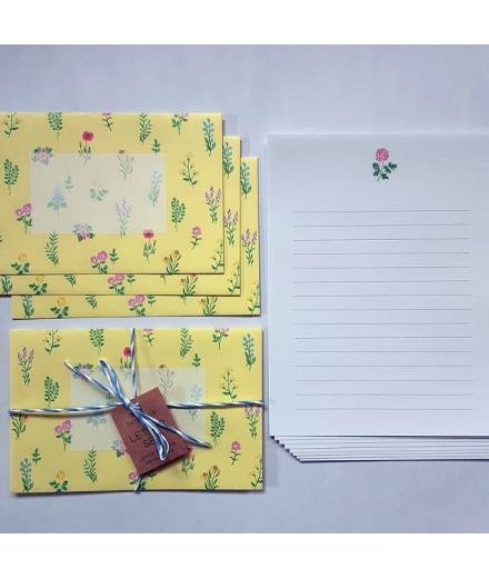 Set Papiers à Lettres & Enveloppes Fleurs - GREEN FLASH