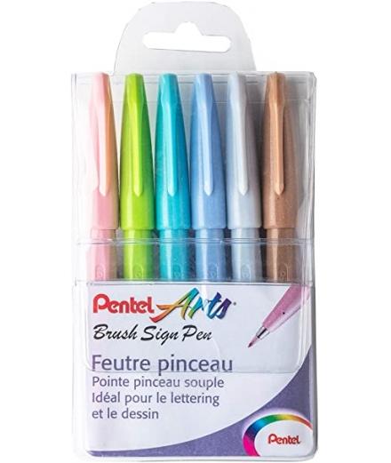 Pochette De 6 Feutres Pinceaux Sign Pen Pastel - PENTEL